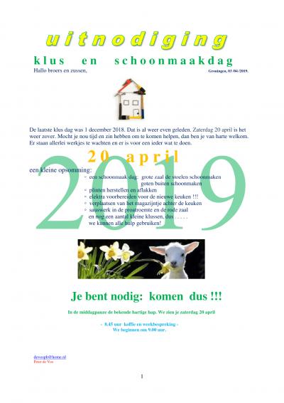 Uitnodiging klusdag 20 april